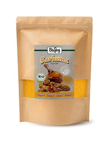 Biojoy Cúrcuma BÍO (Curcuma) en polvo | producida de raíces desecadas de cúrcuma bío | ideal para té, especia, leche de oro, cúrcuma latte o pasta | Curcumin Turmeric polvo en paquete cerrable (1 kg)