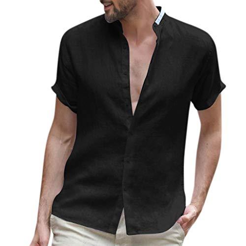 ZHANSANFM Leinenhemd Herren Kurzarm V-Ausschnitt Hemd Sommer Leicht Button Down Regular Fit Henley Freizeithemd (L, Schwarz)