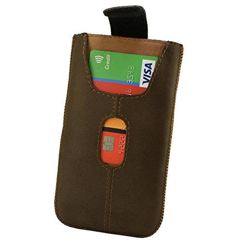 Etui Handy Tasche Apple iPhone X Echt Leder Case Cover Hülle Handysocken Lederetui Leder socken mit Magnetverschluss Rost Hell Braun Handarbeit Dunkel Braun/Braun