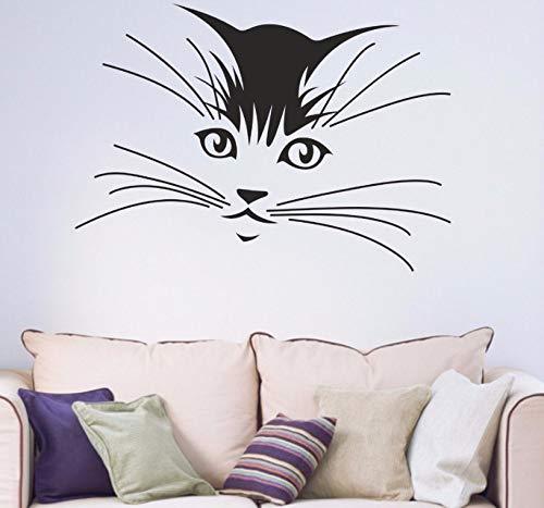 Dalxsh Vinyl Kunst Abnehmbare Kätzchen Katze Schnurrhaare Dekoration Hildrens Teen Wohnzimmer WandbildWandaufkleber 42X59 Cm
