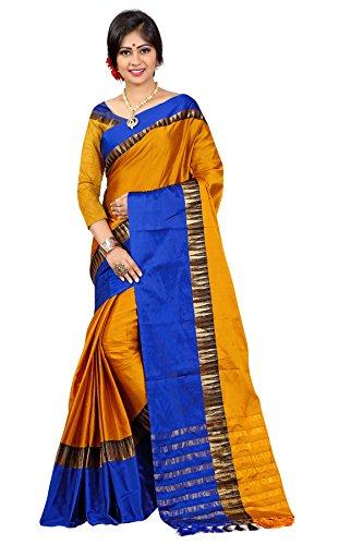 Traditional Ethnic Tassar Silk Banarasi Sarees With Unstitched Blouse Design, Orange And...