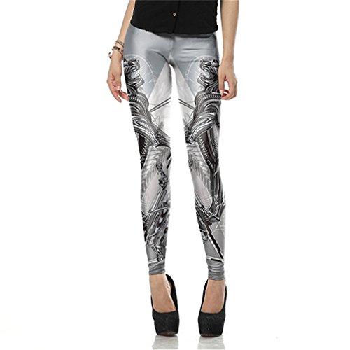 Verano Otoño sexy mujer impreso Polaina Polainas creativo Legins grises Dragon Leggins Pantalón mujer de cintura alta KDK1609 S