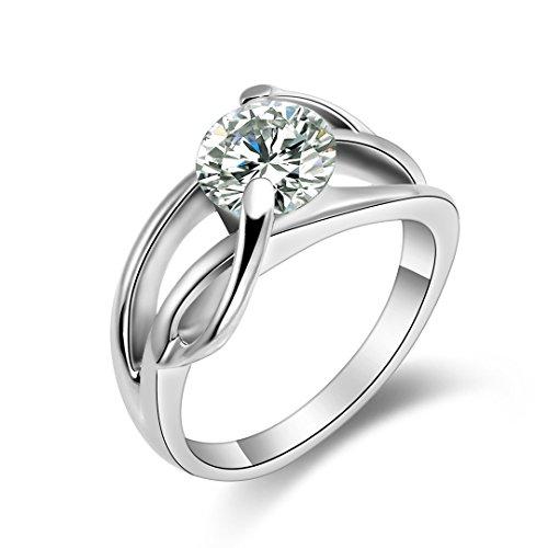 Flongo Edelstahl Ring Engagement Verlobung Hochzeit Wedding Eheringe Band CZ Zirkon Zirkonia Infinity Unendlichkeit Lieben Zeichen Symbol Silber Weiß Elegant Damen