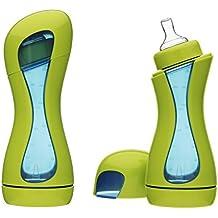 iiamo Home 2 Biberones Anticolicos con Tetina 100 % de Silicona Sin BPA 380ml Recién Nacido 0m+ Verde/Azul