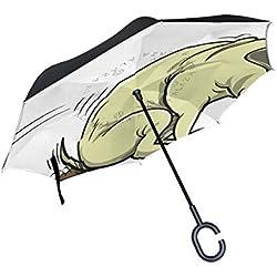 bennigiry impresión de perro carlino Reverse coche paraguas, de doble capa superior resistente al viento y protección UV paraguas invertido con forma libre manos Mango