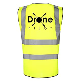 Drone Pilot Hi Viz Reflective Safety Vest. High Visibility Safety Accessories Designed for Drone UAV Quadcopter Operators to Make them Visible to The Public. Any Drone DJI Phantom Inspire Parrot Ghost etc (Yellow, Large)