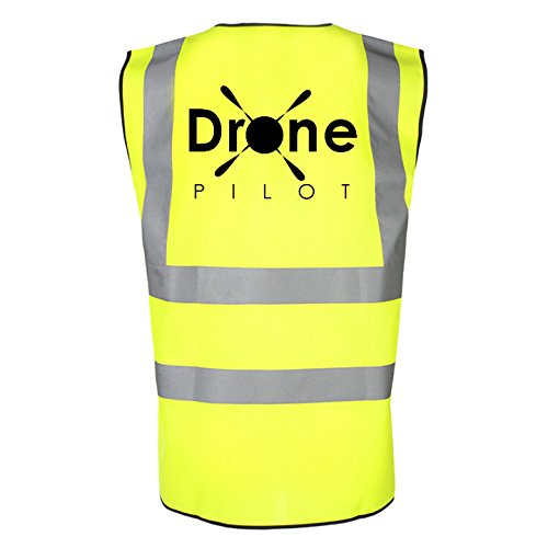 Drone Pilot Hi Viz Reflective Safety Vest. High Visibility Safety Accessories Designed for Drone UAV Quadcopter Operators to Make them Visible to The Public. Any Drone DJI Phantom (Yellow, Medium)