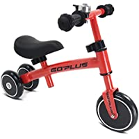 COSTWAY Balance Bike, No Pedal Training Bicycle with Adjustable Handlebar and seat, Toddler Baby Walking Bike with 2 Rear Wheels for Kids