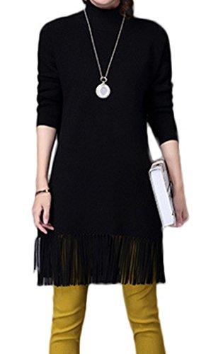 Smile YKK Mini Robe Femme Pull à Manches Longues Frange Hiver Noir