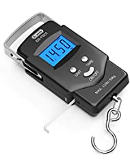 Fishing Electronic Weighing Scales, Dr.meter Electronic Balance Digital Fishing Postal Hanging Hook Scale with Measuring Tape with Backlit LCD Display, 2 AAA Batteries Included