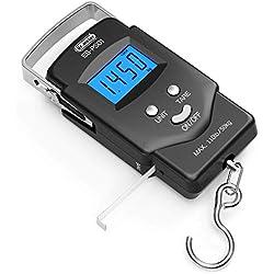 Dr.meter Equilibrio Electrónico Digital con Pantalla LCD Retroiluminado 110 Libras / 50kg con Cinta Métrica, 2 Pilas AAA Incluidas - Negro