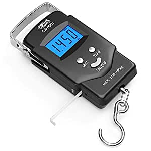 Dr.meter PS01 110lb/50kg Bilancino Digitale Elettronico Display LCD Retroilluminato per Pesca Postale con Gancio Appeso Scala con Nastro di Misura, 2 Batterie AAA Incluse, Nero - Livello A