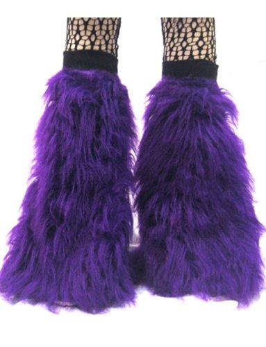 Flauschige Fell-Beinstulpen in Neonfarben, Stiefel-Bezüge Gr. Einheitsgröße, violett (Uv-camo Kinder)