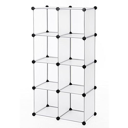 Songmics Regalsystem Cube Aufbewahrung Badregale Schuhregal Sideboard Kommode Kleiderschrank Weiß 112 x 112 x 37 cm LPC115