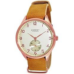Axcent of Scandinavia-ix5830r-010-Vintage 3-Uhren Unisex-Quarz Analog-Weißes Ziffernblatt-Armband Leder braun