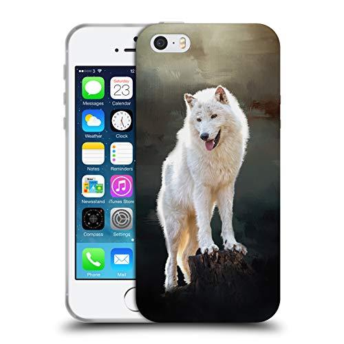 Head Case Designs Ufficiale Simone Gatterwe Lupo Artico Animali 2 Cover Morbida in Gel per iPhone 5 iPhone 5s iPhone SE