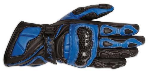 A-pro Gants Cuir Protections Carbone Moto Sport Motard Piste Circuit MotoGP bleu XL