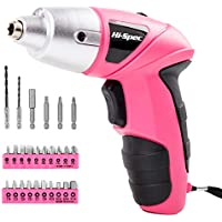 Hi-Spec 4.8V Electric Cordless Pink Screwdriver with Rechargeable 600mAh Ni-MH Battery & 26 Piece Screwdriver and Wood Drill Bit Assortment for Home DIY - Pink Power Tool for Ladies, Great Gift Idea