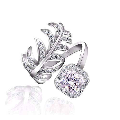 MTWTM Silber Ring Mode Schmuck Exquisite Feder Zirkon Einfügen Herz Hochwertige Schmuck, Quadrat Bohren Weiß -