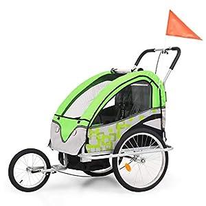 Roderick Irving Fahrradanhänger 2in1 Kinder Fahrradanhänger & Kinderwagen grün und grau Fahrradanhänger Sitzfachmaße: 62…