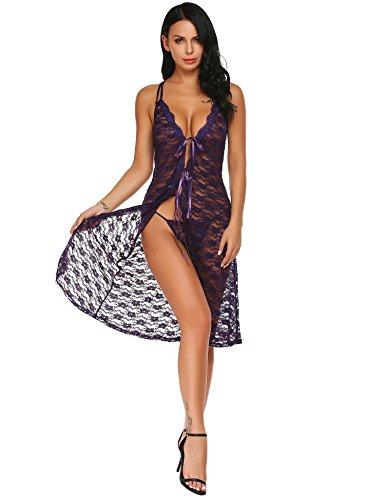 Damen Reizwäsche Offener Dessous Set Lange Kleid Cover up Dessous Kimono Robe Spitze Lang Ärmel Transparente Damen Nachtwäsche Kimono-kleid-set