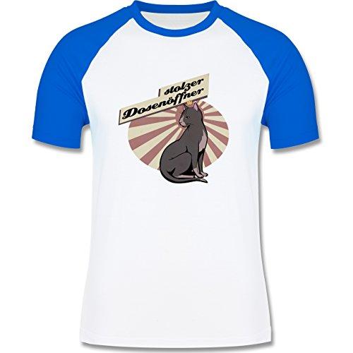 Katzen - Stolzer Dosenöffner Katze - zweifarbiges Baseballshirt für Männer Weiß/Royalblau