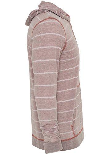 URBAN CLASSICS TB536 Striped Burnout Hoody T-Shirt Pullover langarm ruby/wht
