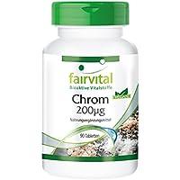 Chrom 200µg (Chrompicolinat), hochdosiert, vegan, hefefrei, ohne Magnesiumstearat, 90 Chrom-Tabletten für 3 Monate, reduziert Heißhunger