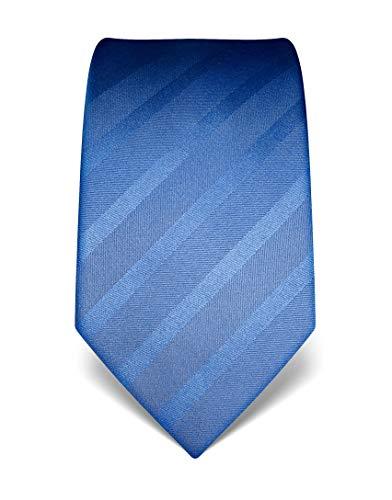 Vincenzo Boretti Herren Krawatte reine Seide Ton in Ton gestreift edel Männer-Design zum Hemd mit Anzug für Business Hochzeit 8 cm schmal/breit hellblau
