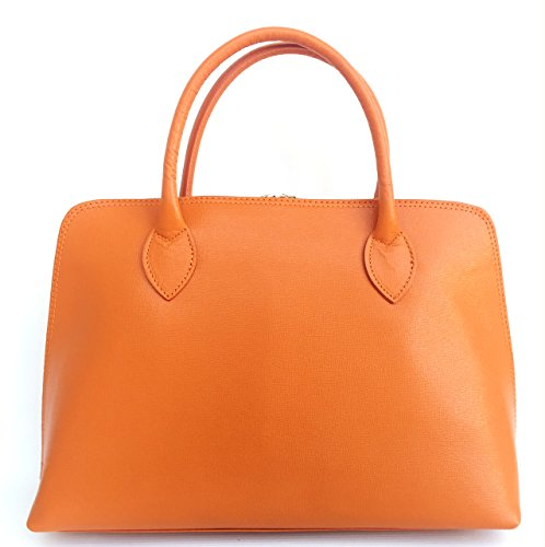 SUPERFLYBAGS Damen handtasche Modell Circ Echtes Saffian Leder 39x26x11 cm Made in Italy Orange