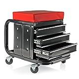 deiwo Werkstatthocker mit Rollen, Tragfähigkeit ca. 135 kg, 48 x 35 x 43 cm, DREI Schubfächer für Werkzeug