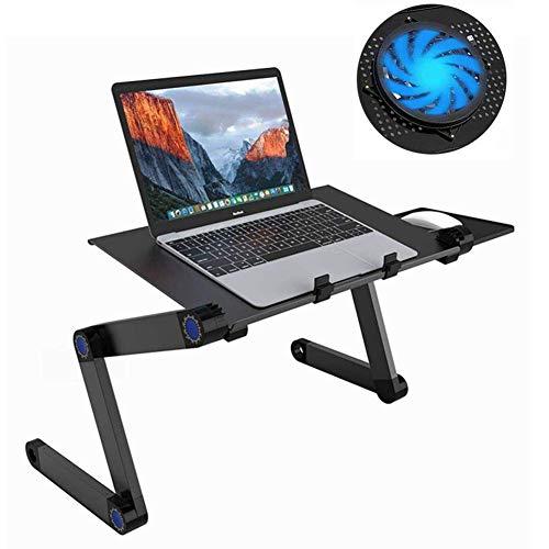 JASZW Tragbarer Verstellbarer Laptop-Schreibtisch/Ständer/Tisch aus Aluminium mit abnehmbarem Mauspad und großen CPU-Lüftern Notebook-MacBook -