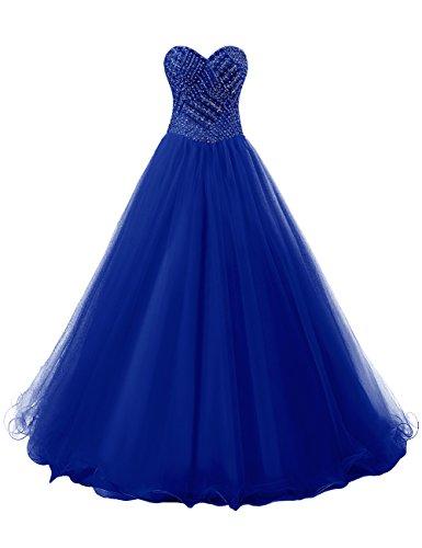 Dresstells, Robe de cérémonie Robe de soirée en tulle forme marquise emperlée bustier en cœur Bleu Saphir