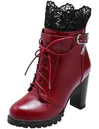 AIYOUMEI Damen Blockabsatz High Heels Ankle Boots Stiefeletten mit  Schnürung und Spitze Klassischer Stiefel e03590a533