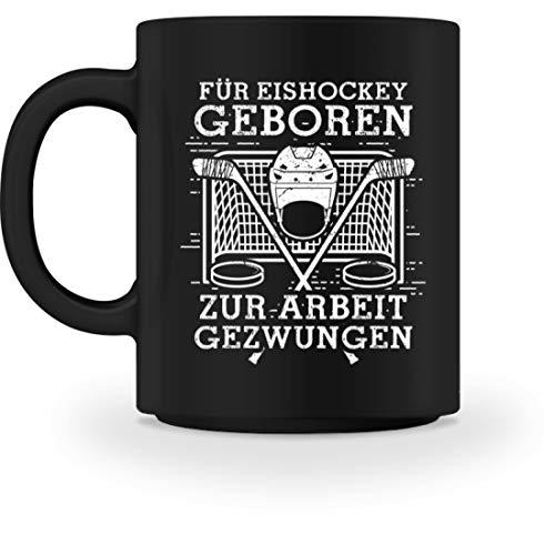 shirt-o-magic Eishockey-Fan: Für Eishockey geboren - Tasse -M-Schwarz