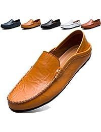 283c343bd26 KAMIXIN Mocassins Homme Été Loafers Cuir Mode Respirant Chaussures de  Conduite Plat Flâneurs Chaussures Décontractées Slip
