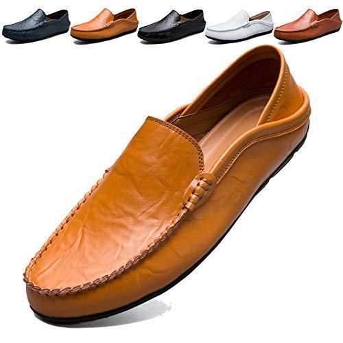 KAMIXIN Mocassini Uomo Pelle Estivi Pantofole Casual Eleganti Slip On Scarpe da Guida Scarpe da Barca Classic Loafers Blu 40EU