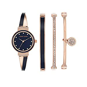 Anne Klein Ladies níquel Free 4 PC. Rose Gold-Tone & Marina Enamel Box Set with Swarovski Crystal Accents