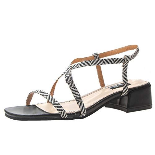 iLPM5 Damen Sommer Mode Elegant Platz High Heel Schuhe Gürtelschnalle Sandalen Offene Spitze Sandalen Römer Sandalen(Schwarz,35) -