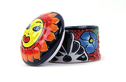 Mexikanische Handwerkskunst: Dose mit Deckel, handbemalt, rot