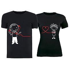 Idea Regalo - Altra Marca Coppia di T-Shirt per Innamorati Personalizzate Nere Comunicazione a Distanza Magliette di San Valentino per Uomo e Donna - Uomo XL Donna M