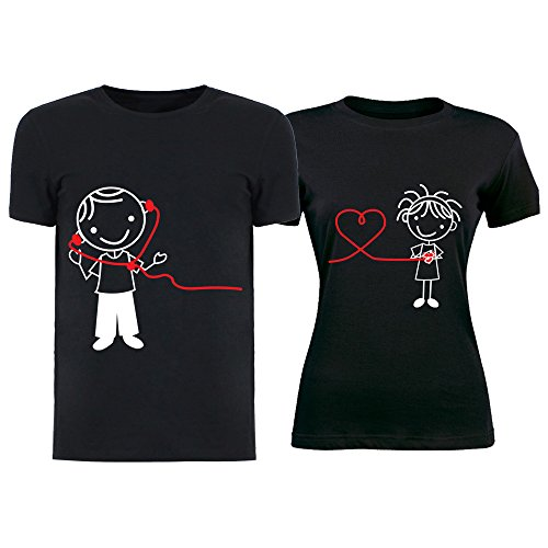 Altra Marca Coppia di T-Shirt per Innamorati Personalizzate Nere Comunicazione a Distanza Magliette di San Valentino per Uomo e Donna - Uomo M Donna S