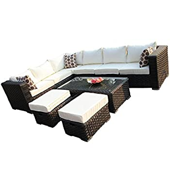 YAKOE 50016 8 Seat 1 Table Rattan Wicker Garden Furniture Conservatory Sofa Set - Black