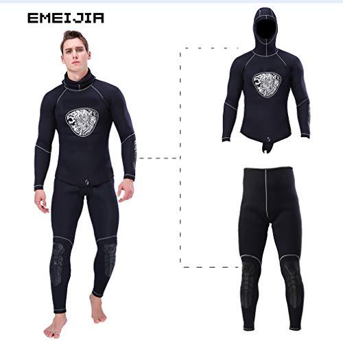 EMEIJIA Herren Neoprenanzug, 5 mm, zweiteilig, Kopfbedeckung, nahtlos, Dicker Speerfischer-Neoprenanzug, Surfing Sailing Wetsuits,XXL
