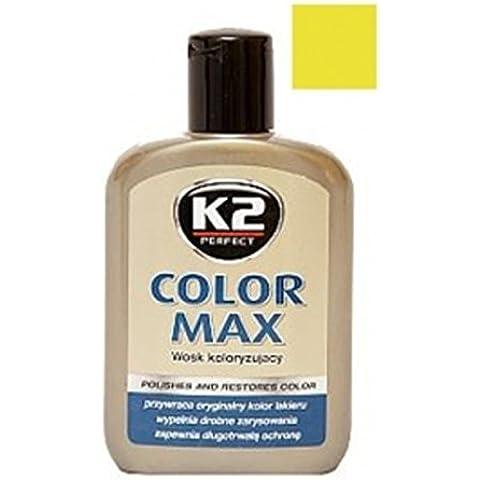 K2 Max, colorati con cera di carnauba, rigenera auto car shine, 200 ml, colore: giallo
