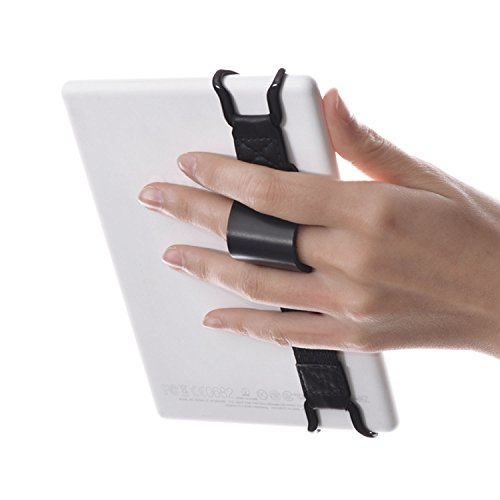 WANPOOL Universelles Anti-rutsch Handhalteband Halterung Stütze mit Verstellbaren Lederband Ständer, zur Nutzung mit 6 Zoll Kindle E-Reader - Kindle Paperwhite / Voyage / Oasis / Fire HD 6 und Anderen