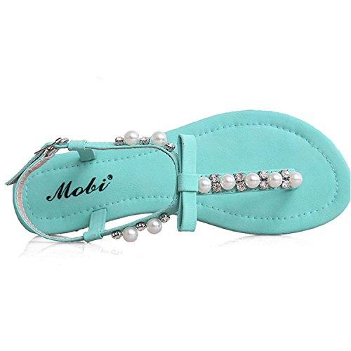 Oasap Women's Bohemian T-strap Pearls Flat Sandals white
