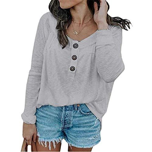 securiuu Womens Top Plain Long Sleeve Waffler Knit Tunic Blouse Plus Size Button Up T-Shirts Grey US-4XL -