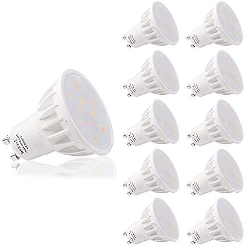 LOHAS® No-Regulable 6Watt GU10 LED Bombillas, Equivalente a 50Watt Lámpara Incandescente, Blanco Frio 6500K, 500lm, 120 ° ángulo de haz, Ultra Brillante LED Bombillas, Paquete de 10 Unidades