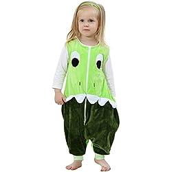 ZEEUAPI - Saco de dormir de franela para bebés niños infantíl Ropa para dormir (M (3-5 años), Verde - dinosaurio)